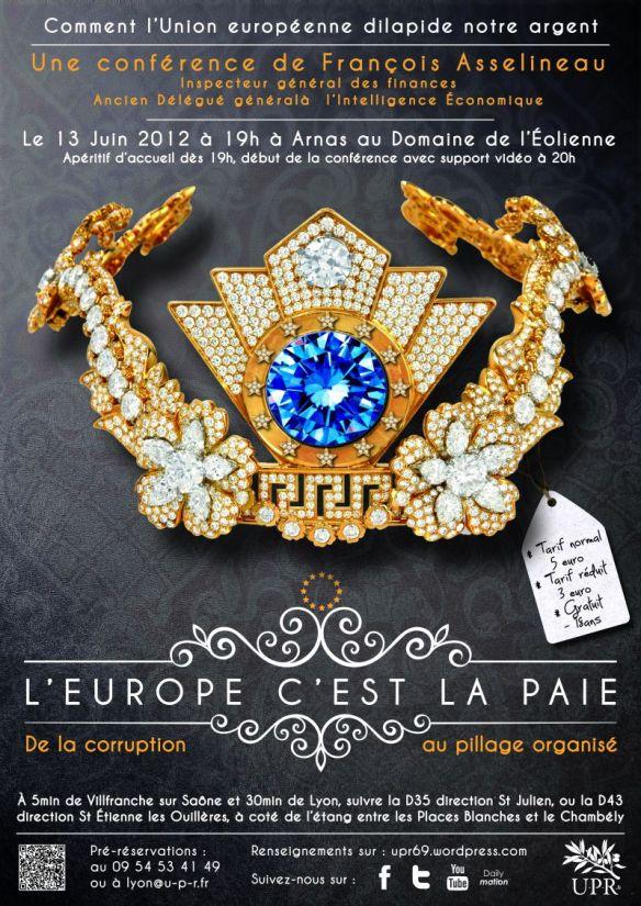 Affiche de la conférence L'Europe c'est la paiE du 13/06/2012